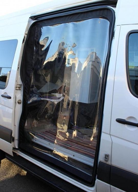 Optional zip in clear patio door for sprinter rear door for Back door with window and screen