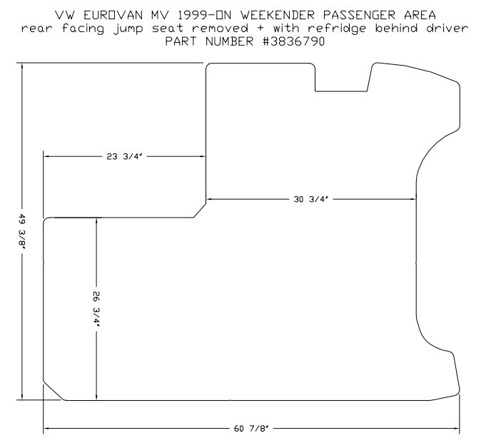 1 Piece Passenger Area Carpet Floor Mat With Folding Seat
