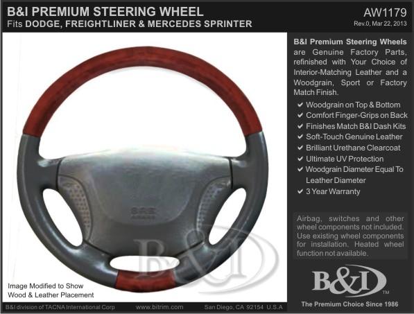 2001 - 2006 Sprinter Woodgrain & Leather Replacement Steering Wheel