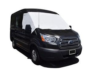 Classic Style Vinyl Cab Window Covers in White for 2015 - 2020 Ford Transit 150, 250 & 350