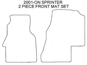 2 piece front carpet mat set all 2001 - 2006 chassis Sprinters with 5 cylinder engine