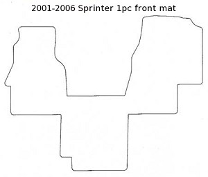 1 piece front rubber mat all 2001 - 2006 chassis Sprinters with 5 cylinder engine (covers between front seats)