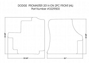 2 piece front rubber mat set all 2014 - 2020 Ram ProMaster 1500, 2500 & 3500 *see product notes for correct fit