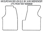 2 Piece Front Carpet Mat Set all 1997 - 2000 VW EuroVan Camper by Winnebago (WITHOUT Floor Console)  #140 Grey B stock no returns