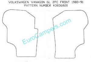 2 Piece Front Carpet Mat Set all 1980 - 1991 VW Vanagon - all models #100 Black