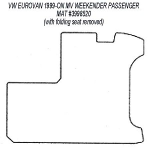 Passenger Area Rubber Floor Mat for all 1999 - 2003 VW EuroVan MV Weekender Models (with folding seat removed)