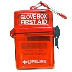 Lifeline 29 piece glove box first aid kit with ABS storage container and carabiner clip