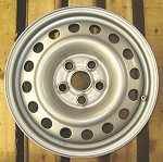 One 16 Inch New Factory Steel Wheel for 1992 - 2003 EuroVan 6J x 16 ET 53mm 900 Kg - color: silver