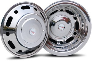 2007 - 2011 Sprinter 3500 Set of 4 Stainless Wheel Simulators for 16 inch Wheels - Smooth Style*