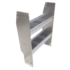 "Vantech 46""H x 42""W x11""D 2 Level Aluminum Shelving System for Mid Sized Vans"