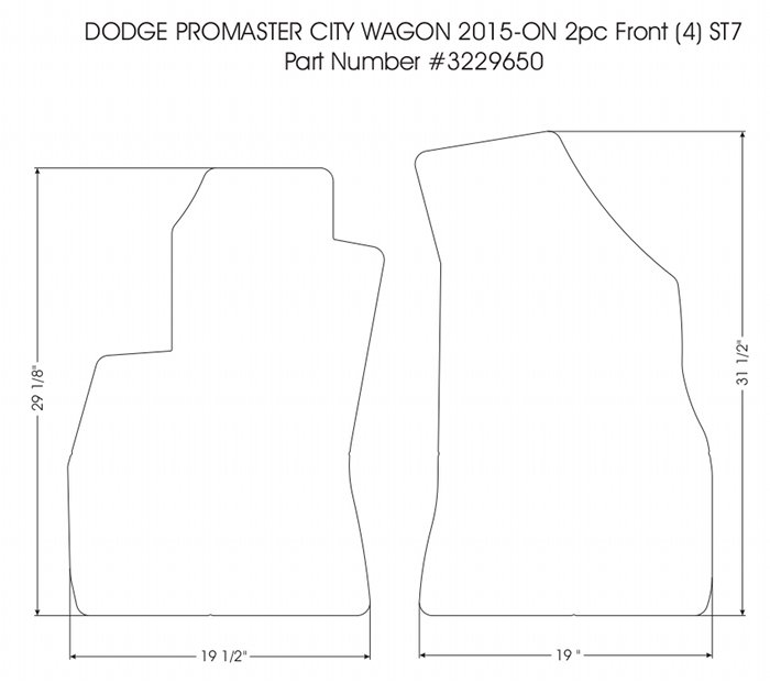 2 piece front rubber mat set all 2015 - 2020 Ram ProMaster City PASSENGER Vans
