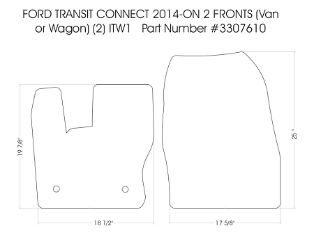 2 piece front carpet mat set all 2014 - 2019 Ford Transit Connect Van