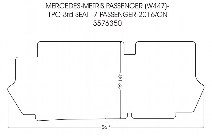 Third row rubber mat for 2016 - 2020 Mercedes Metris 7 Passenger Van