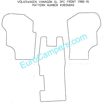 3 Piece Front Rubber Mat - fits all 1980 - 1991 VW Vanagon - all models