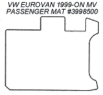 Passenger Area Rubber Floor Mat for all 1999 - 2003 VW EuroVan Standard MV Models (with both rear facing seats in place)