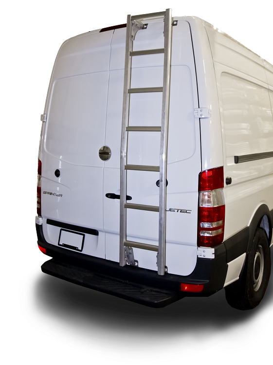2007 - 2020 Sprinter High Roof Prime Design Aluminum Rear Ladder - No Drilling!
