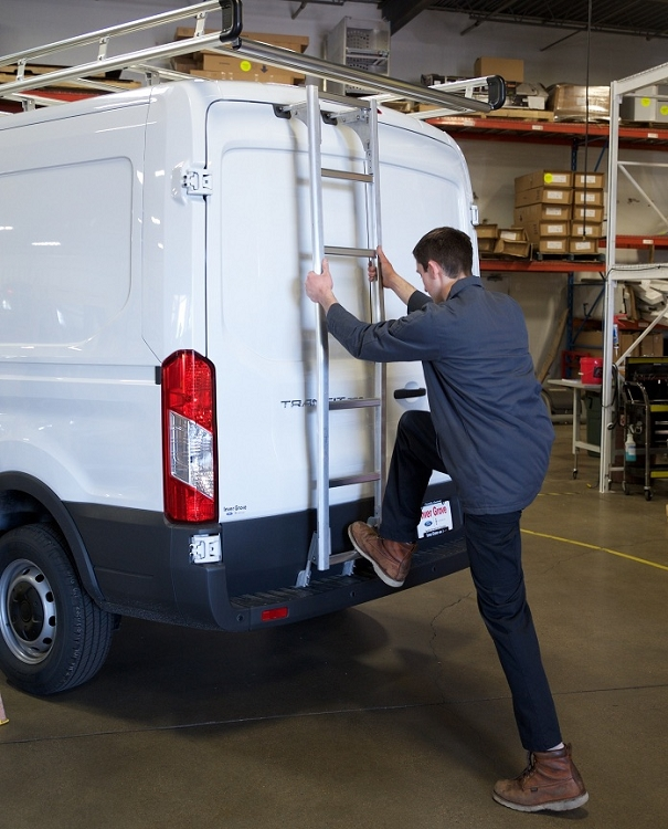 2015 - 2021 Ford Transit Medium Roof Prime Design Aluminum Rear Ladder - No Drilling!