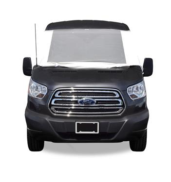 2015 - 2020 Ford Transit 150, 250 & 350 Deluxe Windshield Cover with Roll-up Windows in White Vinyl for