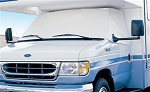 Classic Style Vinyl Cab Window Covers in White for 1996 - 2017 Ford E Series Class C RV