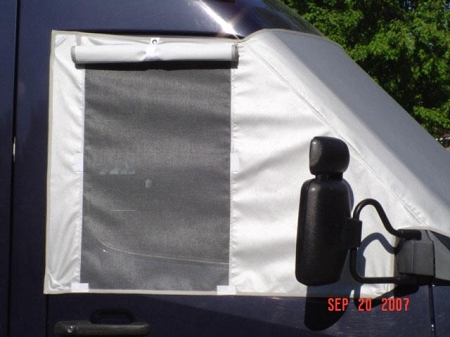 2001 - 2006 Sprinter Deluxe Marine grade 2-ply polyester Windshield Cover with screens (all models with 5 cylinder engines) choose white, grey or beige