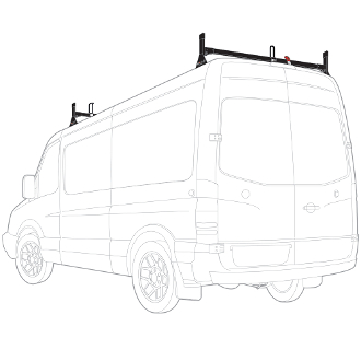 2007 - 2021 Sprinter High Roof H1 2 Bar Steel Roof Rack System - choose black or white finish B-STOCK ITEM ALL SALES FINAL NO REFUNDS OR EXCHANGES
