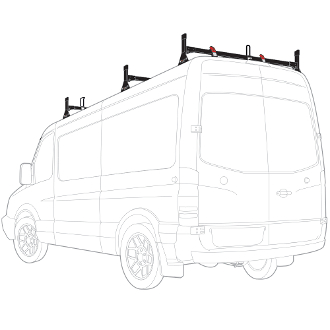 2007 - 2021 Sprinter Low Roof  H1 3 Bar Stainless Steel Roof Rack System