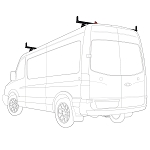 2007 - 2020 Sprinter 2 Bar Aluminum Roof Rack with accessories - Fits Standard and High Roof models with Integrated Roof Track- choose White, Black or Silver