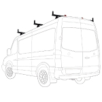 2007 - 2021 Sprinter 3 Bar Aluminum Roof Rack with accessories - Fits Standard and High Roof models with Integrated Roof Track- choose White, Black or Silver
