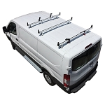 2015 - 2021 Ford Transit H3 Style 3 Bar Aluminum Roof Rack w/ Side Supports & Ladder Holder