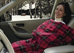 12 Volt Heated Fleece Blanket with timer in red plaid, or navy