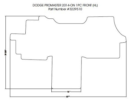 1 piece front carpet mat all 2014 - 2020 Ram ProMaster 1500, 2500 & 3500 *see notes for correct fit