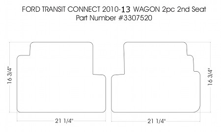 2 piece second row rubber mat set all 2012 - 2013 Ford Transit Connect Wagon