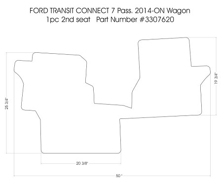 Second row rubber mat for 2014 - 2018 Ford Transit Connect 7 Passenger Wagon