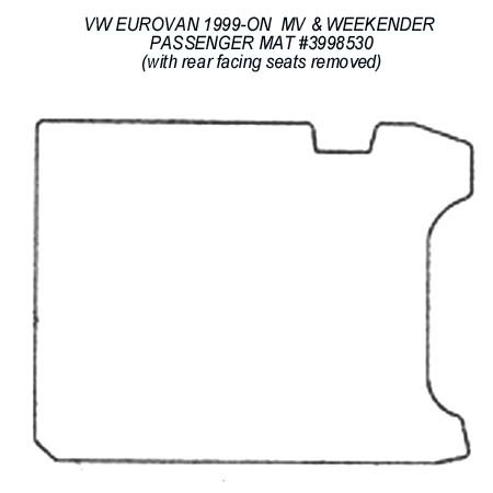 Passenger Area Rubber Floor Mat for all 1999 - 2003 VW EuroVan MV & MV Weekender Models (with both rear facing seats removed)
