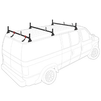 1975 - 2014 Ford Econoline (E Series) H1 3 Bar Steel Roof Rack System in Black or White Finish