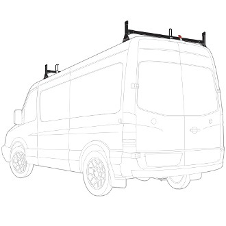 2007 - 2021 Sprinter High Roof H1 2 Bar Aluminum Roof Rack System -  choose black, white or silver finish