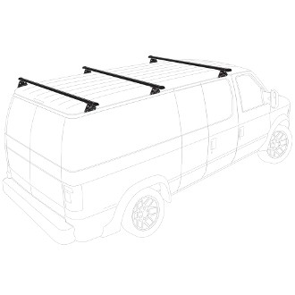 2001 - 2006 Sprinter Low Roof H3 style 3 Bar Aluminum Roof Rack System - choose black, white or silver finish