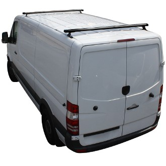 2007 - 2021 Sprinter Complete 2 Bar Aluminum Roof Rack - Fits Standard and High Roof models with Integrated Roof Track- choose White, Black or Silver